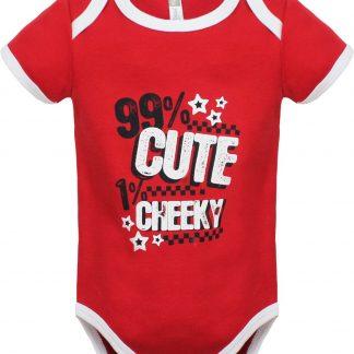 Ducky Beau romper - rood met wit - 99% Cute 1% Cheeky - maat 74