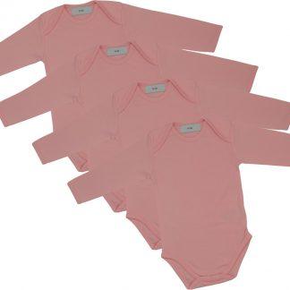 Link Kidswear - Meisjes Romper lange mouw - Maat 50/56 - Baby roze - 4 stuks