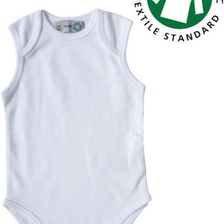 Link Kidswear Romper, mouwloze romper. BIO 100% katoen GOTS, maat 50-56 in de kleur wit