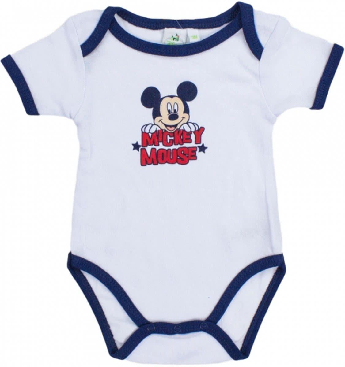 e9280037b380a4 Mickey Mouse korte mouw rompertje wit/navy 12-18 maanden ...