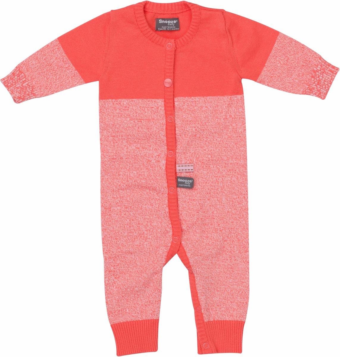 Maat 50 Babykleding.Snoozebaby Unisex Boxpakje Suit Knitted Coral Sunset Maat 50