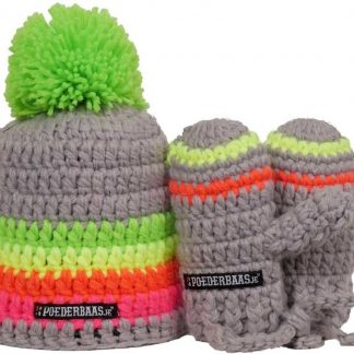 Babymuts kleurrijk met handschoentjes - BB010