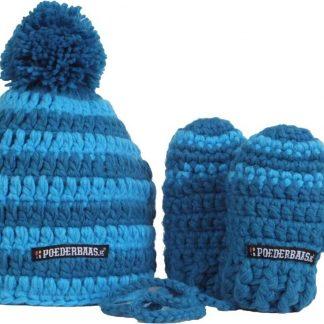Poederbaas Babymuts kleurrijk met wantjes - blauw ~ BB004