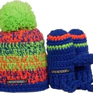 Poederbaas kleurrijke babymuts met handschoentjes - BB009