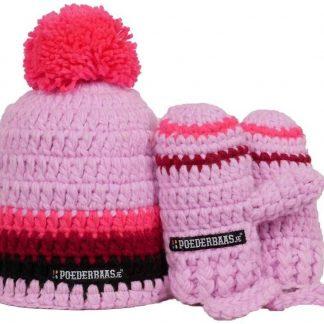 Poederbaas roze babymuts met handschoentjes - BB007