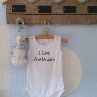 Baby Rompertje voetbal voetbalclub Jongen I love Amsterdam | wit | maat 50/56