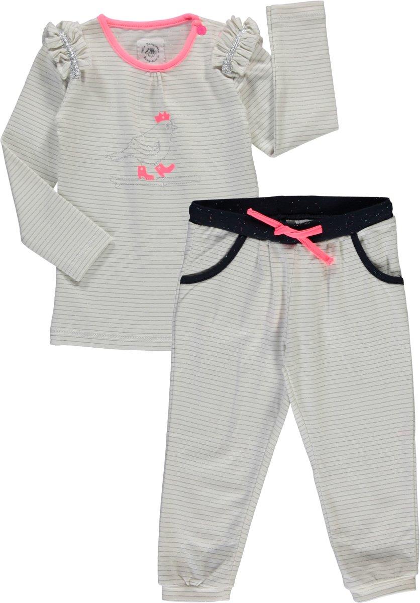 Babykleding Maat 80 Meisje.Bampidano Meisjes Set Offwhite Zilver Broek En Shirt Maat 80
