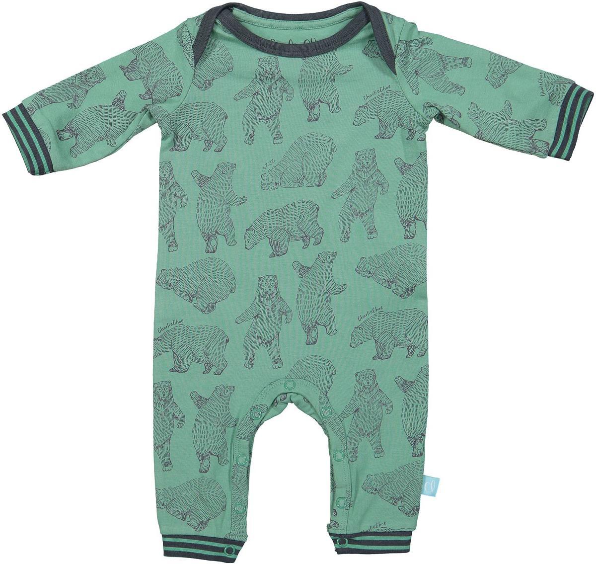 Maat 62 Babykleding.Charlie Choe Pyama Jongen Baby Jumpsuit Bear Hug Groen Maat 62
