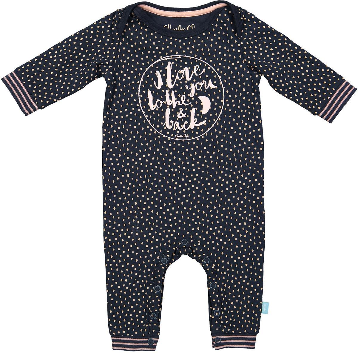 Maat 62 Babykleding.Charlie Choe Pyama Meisje Baby Jumpsuit Forest Dots Blauw Maat 62