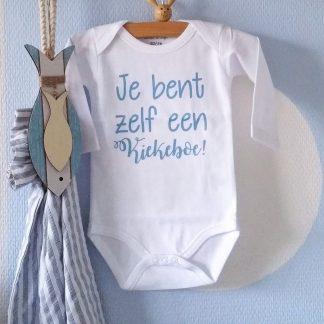 Baby Rompertje jongen Je bent zelf een Kiekeboe | Lange mouw | wit met blauw | maat 74/80