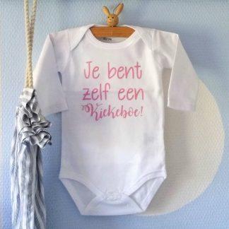 Baby Rompertje meisje tekst Je bent zelf een Kiekeboe | Lange mouw | wit met roze | maat 50/56