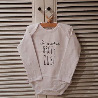 Baby rompertje Hoera ik word grote zus meisje - Zwangerschapsaankondiging | Lange mouw | wit zwart | maat 74-80 zwangerschap aankondiging