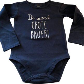 Baby rompertje Ik word grote broer jongen - Zwangerschapsaankondiging | Lange mouw | blauw | maat 98-104 zwangerschap aankondiging