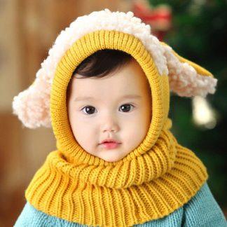 Babymuts schaap - Okergeel mutsje - Baby - Peuter - Mutsje babykleding - Winter 2019 - Muts dier - Nekwarmer - Muts met Oortjes - Schaap - Schattig mutsje