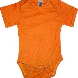 Oranje rompertje korte mouwtjes 68 (4-6 maanden)