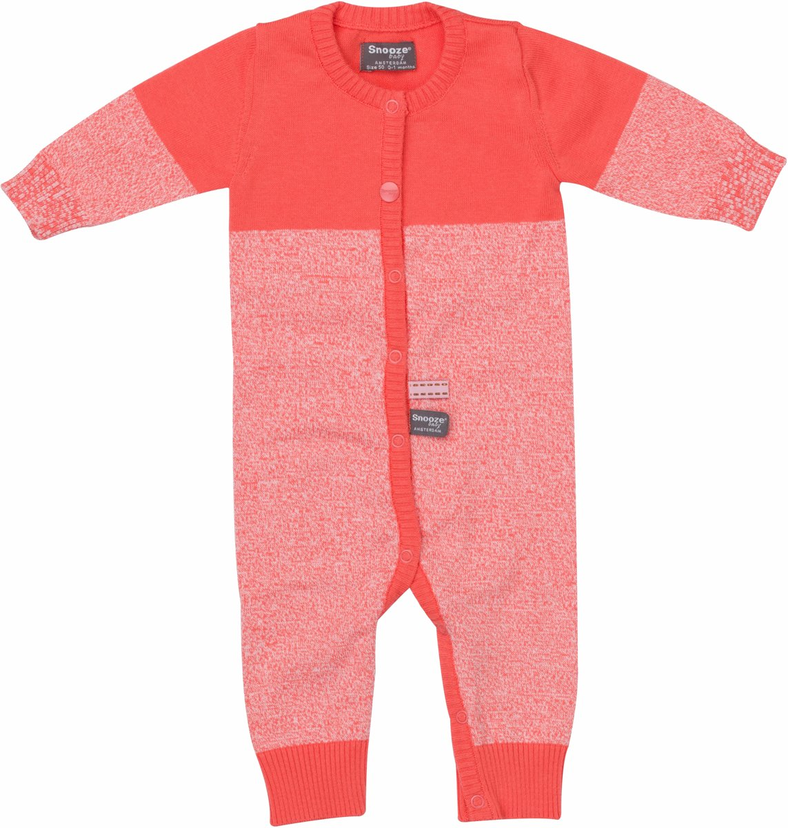 Maat 62 Babykleding.Snoozebaby Unisex Boxpakje Suit Knitted Coral Sunset Maat 62