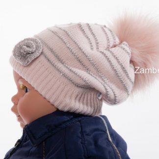 Babymuts meisjes met lurex en pompon roos / 9-18 maanden