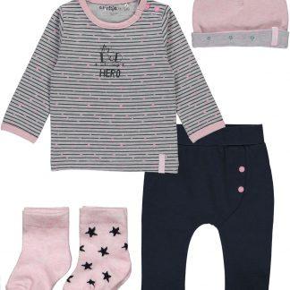 Dirkje Basics Meisjes Set(5delig) Shirt gestreept met Broek Donkerblauw, Mutsje, 2 paar sokjes - Maat 68