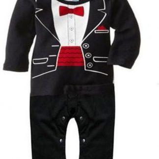Feest overhemd romper - eerste verjaardag - zwart met witte voorkant en rode accenten - maat 86/92