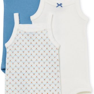 Petit Bateau Meisjes Rompertje 3-pack - blauw - Maat 86