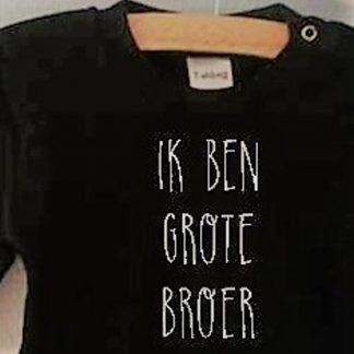 Baby rompertje met tekst jongen big brother   Ik ben grote broer   Lange mouw   zwart   maat 74-80 cadeau geboorte broertje zusje aankondiging shirt