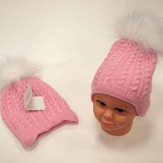 Babymuts meisje | Babymutsje voor meisjes Katoen Roze Muts Pompon 0-12 Maanden