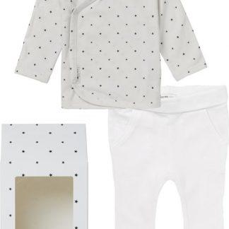 Noppies GiftSet(2delig) Unisex Shirt Wit sterretjes Broek Wit - Maat 62
