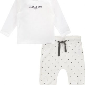 Noppies Set(2delig) Unisex Shirt Wit Broek Wit sterretjes - Maat 62