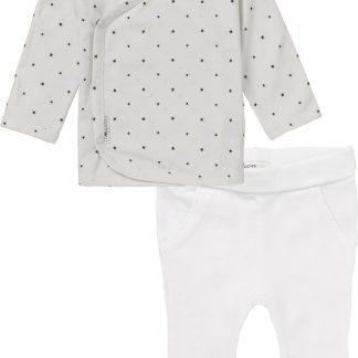Noppies Set(2delig) Unisex Shirt Wit sterretjes Broek Wit - Maat 68