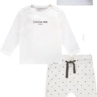 Noppies Set(3delig) Unisex, Shirt Wit Broek en Muts Wit sterretjes - Maat 62