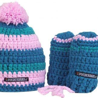 Schattige kleurrijke babymuts met handschoentjes - blauw/roze
