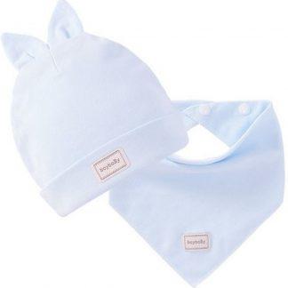 Set babymuts met oortjes + sjaaltje lichtblauw