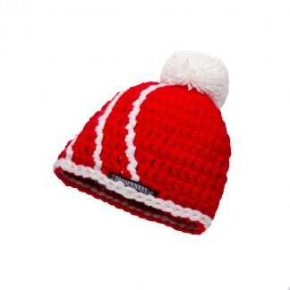Babymuts - rood met wit bolletje