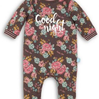 Charlie Choe Meisjes Jumpsuit Pyjama Bruin Gebloemd - Maat 50