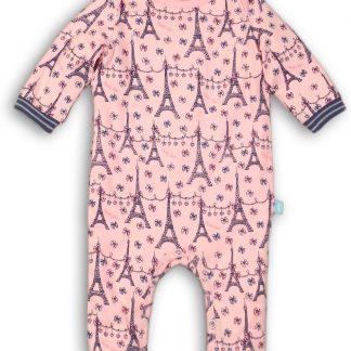 Charlie Choe Meisjes Jumpsuit Pyjama Lichtroze Met De Eiffeltoren - Maat 50