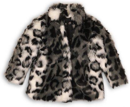 Koko Noko Meisjes Jas Fake Fur Zwart Gijs Wit - Maat 86
