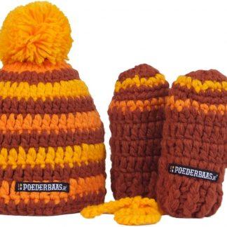 Poederbaasje babymuts kleurrijk One Size - bruin/geel/oranje, babymuts met wantjes, fleece, kleurrijke muts met wantjes