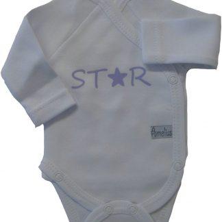 Rompertje met lange mouw met opdruk Star