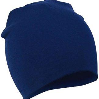 2 Stuks Comfortabele Babymuts - Donkerblauw - 19X19cm - Elastaan - Zacht - Warm - Herfst - Winter - Kindermuts