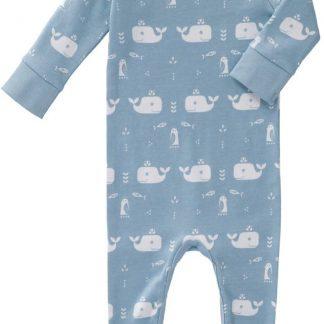 Fresk pyjama met voet Whale blue fog, 0-3 maand