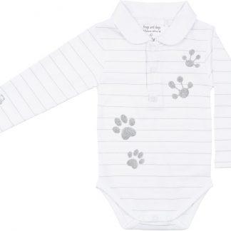 Frogs & Dogs - kraamcadeau - baby - polo-shirt/romper - Lucky - meisje- Glitter - wit - maat 56