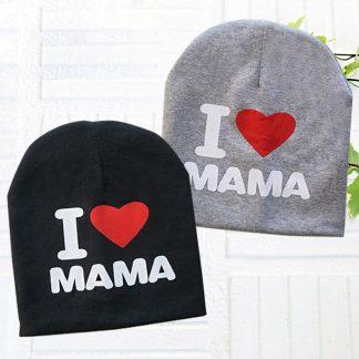 I love mama babymuts - Zwart - Muts voor baby's - Met tekst - One size