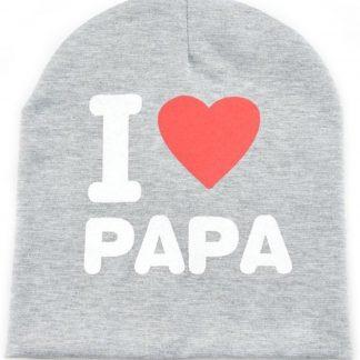 I love papa babymuts - Grijs - Muts voor baby's - Met tekst - One size