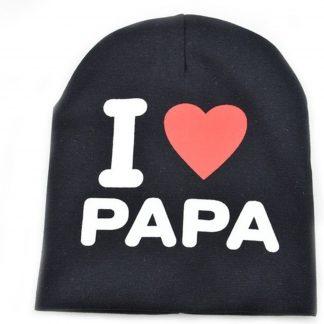 I love papa babymuts - Zwart - Muts voor baby's - Met tekst - One size