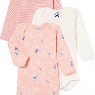 Petit Bateau Meisjes Rompertje 3-pack - roze - Maat 3 mnd