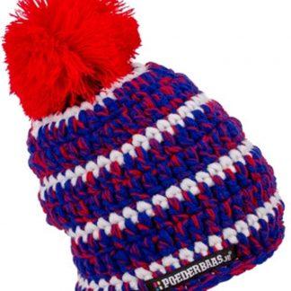 Poederbaasje babymuts kleurrijk One Size - rood/wit/blauw, babymuts met wantjes, fleece, kleurrijke muts met wantjes