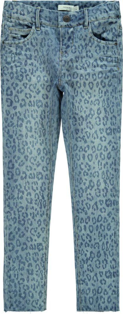 Name it Meisjes Polly Skinny Broek Spijkerbroek Leopard Print - Light Blue Denim - Maat 80