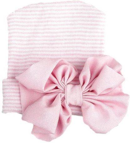 Geboortemuts / babymuts / ziekenhuismuts roze gestreept met strik - 0 tot 1 maand