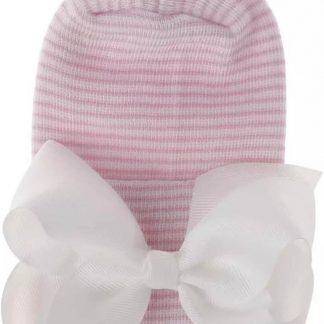 Geboortemuts / babymuts / ziekenhuismuts roze wit gestreept met witte strik - Extra dikke stof - 0 tot 1 maand
