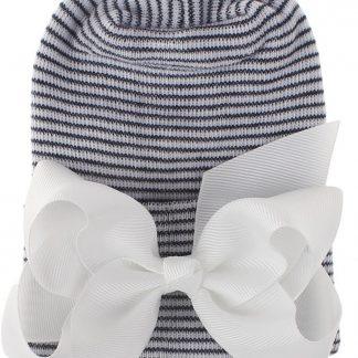 Geboortemuts / babymuts / ziekenhuismuts zwart wit met witte strik - Extra dikke stof - 0 tot 1 maand